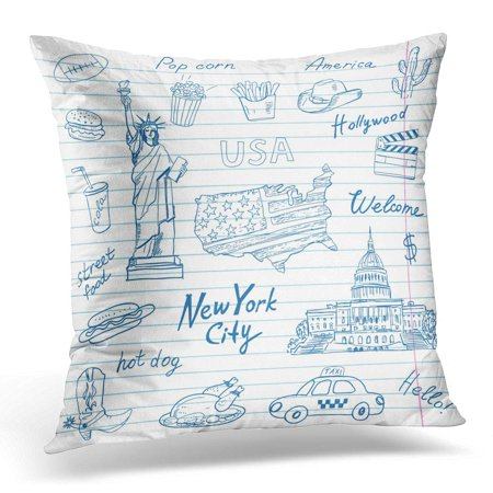 BOSDECO America Symbols on The Sheet Statue Liberty Blue Pen Words USA York City Welcome Street Pillowcase Pillow Cover Cushion Case 18x18 inch - image 1 of 1