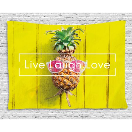 Live Laugh Love Decor Tapestry, Tropical Pineapple with Sunglasses on Yellow Wood Board Joyful Print, Wall Hanging for Bedroom Living Room Dorm Decor, 80W X 60L Inches, Multicolor, by Ambesonne (Pineapple With Sunglasses)