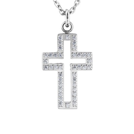 Cut Out Cross - ELYA Stainless Steel Cubic Zirconia Cut Out Cross Pendant
