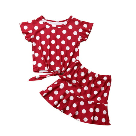 Toddler Girls Short Sets Flying Sleeve T-Shirt Polka Dot Floral Tutu Skirt 2Pc Outfit