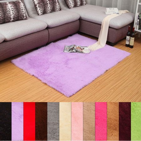 48'' x 32'' Soft Fluffy Rugs Anti-Skid Shaggy Area Rug Dining Room Home Bedroom Silk Carpet Floor Mat 12 Colors