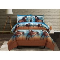 HIG 3D Comforter Set -3D Running Texas Wild Horse Printed Comforter Set Twin Queen King Size (D06) - Box Stitched, Soft, Breathable, Hypoallergenic, Fade Resistant