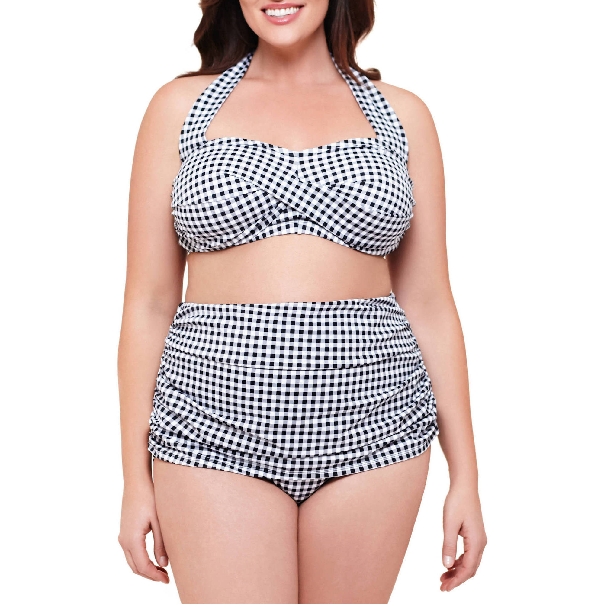 Suddenly Slim By Catalina Women's Plus-Size Slimming High-Waisted Bikini 2 Piece Set