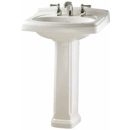 White Century Vitreous China Lavatory (American Standard 0555.801.020 Portsmouth Two-Piece lavatory and Pedestal with Three Faucet Holes (8 Centers), Available in Various Colors)