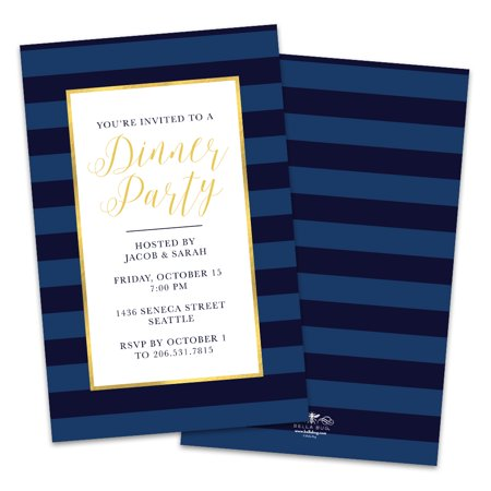 Personalized Navy Blue Stripes Party