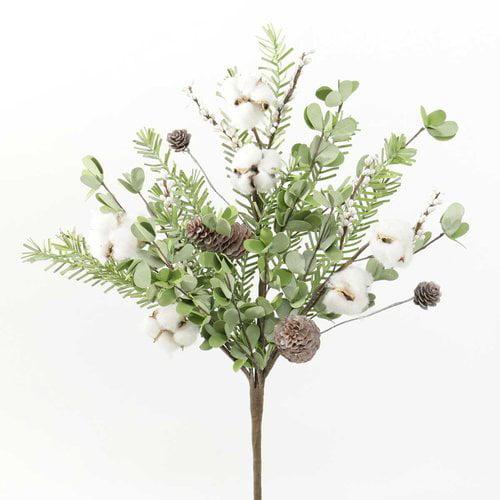 Gracie Oaks Decorative Southern Chic Cotton Bush Desktop Foliage Plant