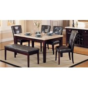 White Faux Marble Top Espresso Dining Set 6Pcs Acme Furniture 17058 Britney