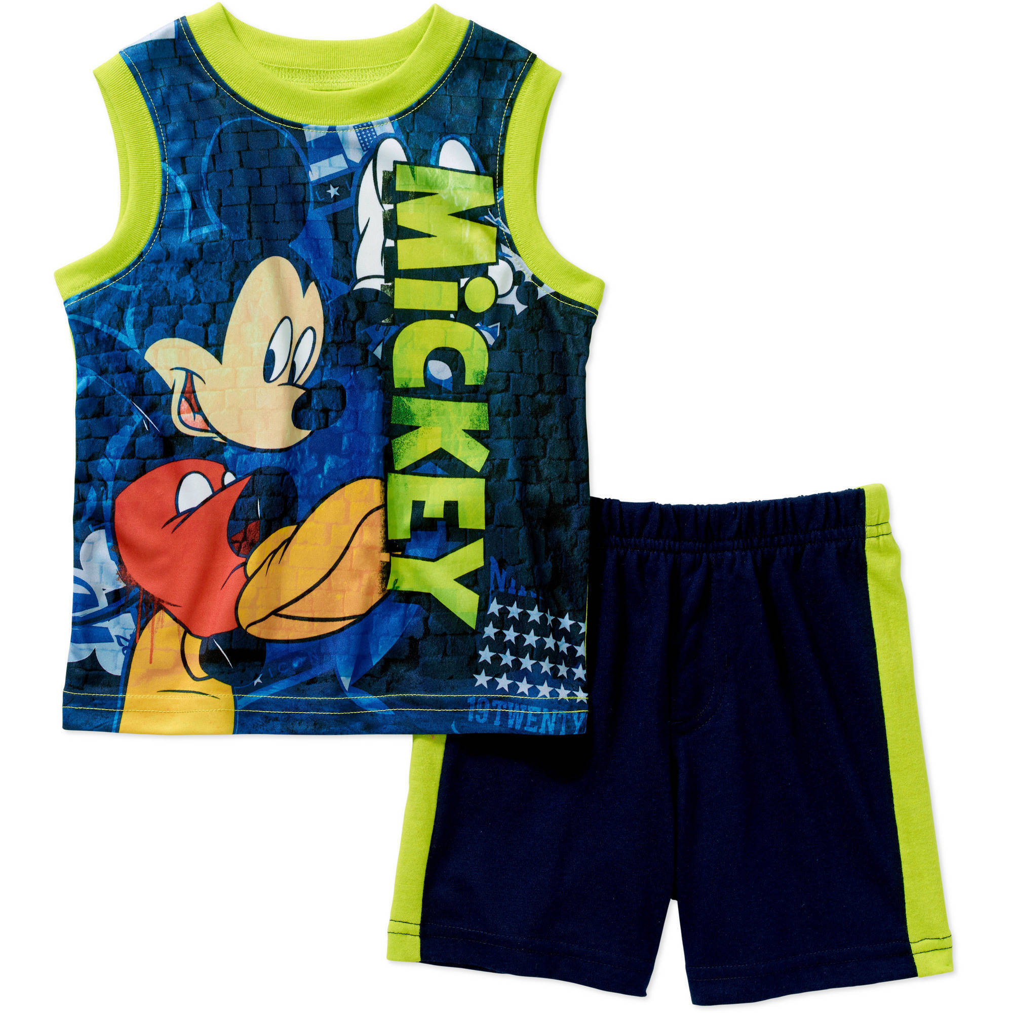 Mickey Mouse Newborn Baby Boy Muscle Tank and Short 2 pc Set