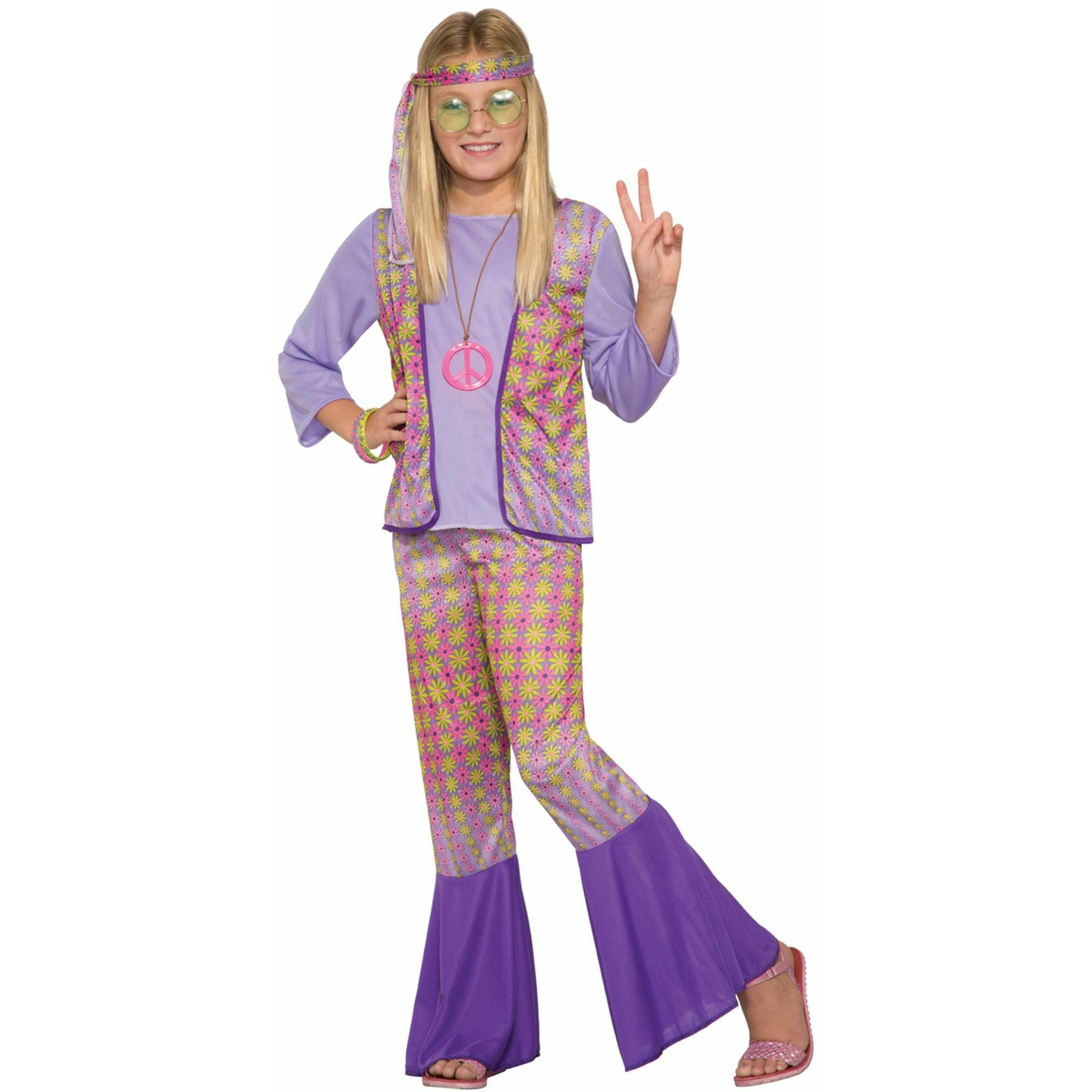 Hippie Girl Halloween Costume.Generation Hippie Love Child Girls Halloween Costume 1970s Flower Power Sm Md Lg