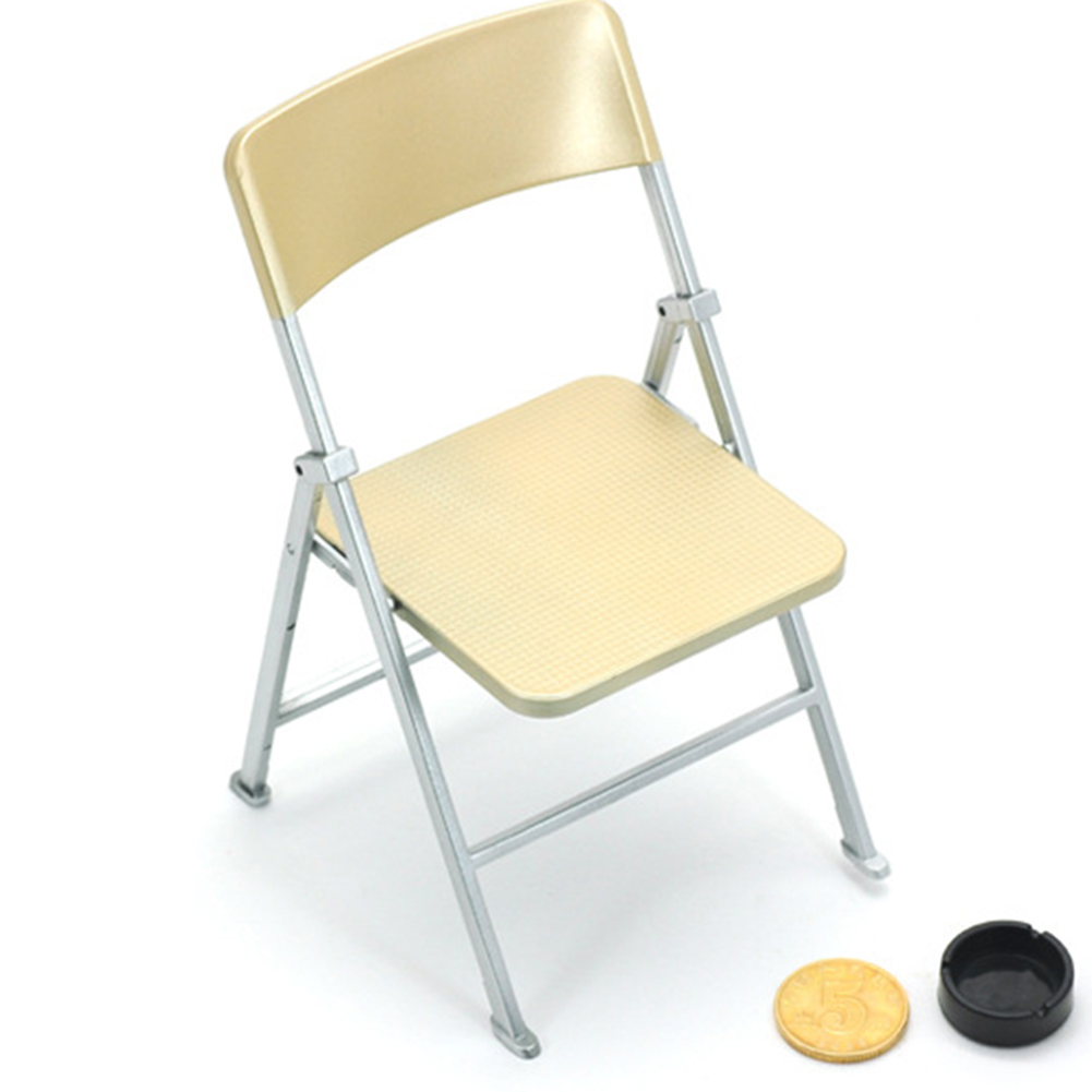 1:6 Scale Action Figure Folding Chair Furniture Accessories for Dolls Soldiers Color:Silver