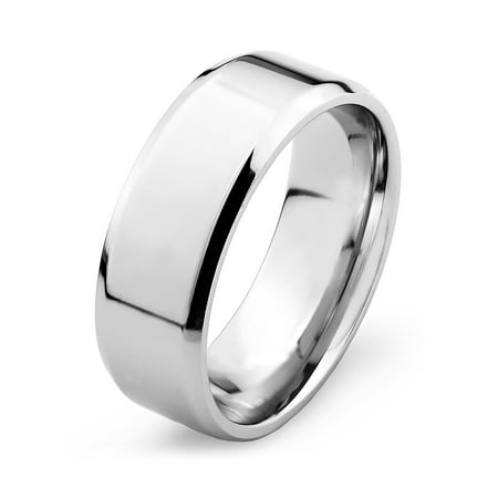 Stainless Steel Mirror Polished Flat Band with Beveled Edge Ring