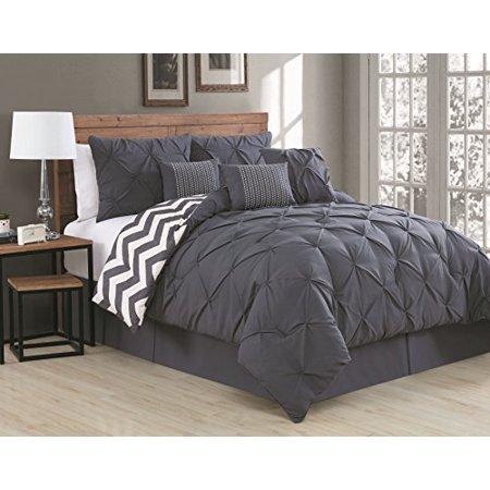 Avondale Manor 7-Piece Ella Pinch Pleat Comforter Set, King, Charcoal - image 1 de 1