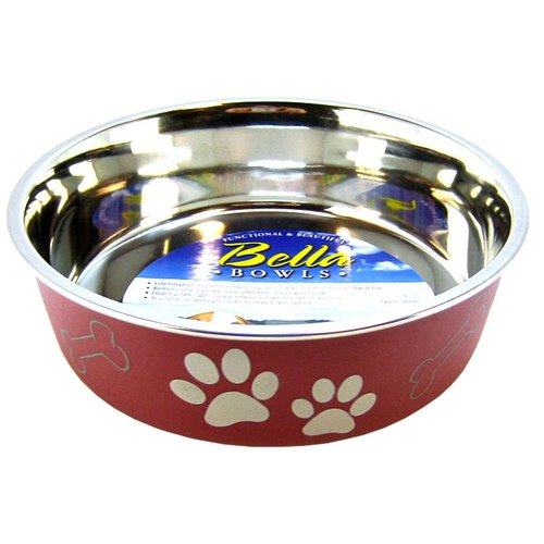 Loving Pets Merlot Stainless Steel Dish With Rubber Base Medium