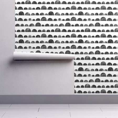 Peel-and-Stick Removable Wallpaper Black And White Scallops Half Circle Circles (Black Cream Wallpaper)