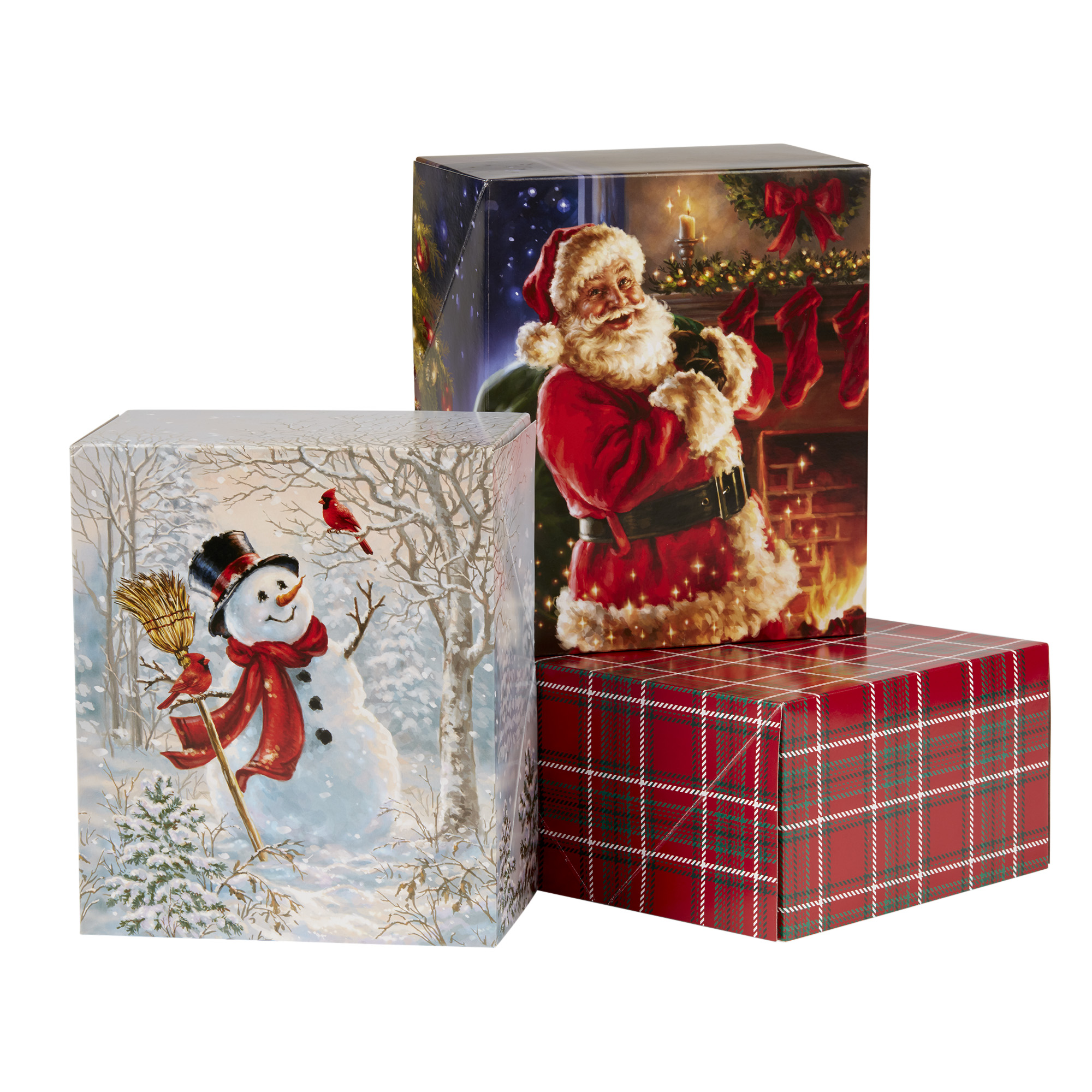 Holiday Time Decorative Gift Box Set, Christmas Theme, 3 Count