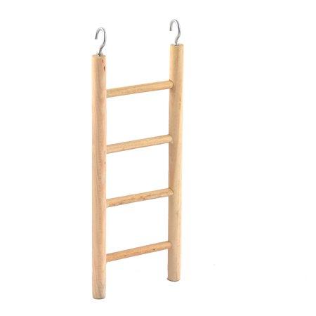 Metal Hook Wooden Ladder 4 Steps Bird Budgie Canary Playground Toy
