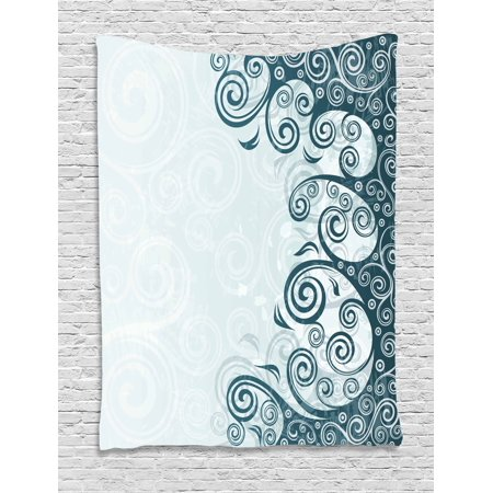 Art Deco Backdrop (Modern Decor Tapestry, Abstract Backdrop with Floral Details Swirls Art Print, Wall Hanging for Bedroom Living Room Dorm Decor, 40W X 60L Inches, White Light Blue and Slate Blue ,)