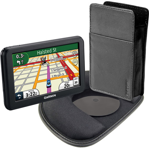 """Garmin nuvi 40 Bundle 4.3"""" GPS w/ Weighted Friction Dash Mount and Leather Carrying Case"""