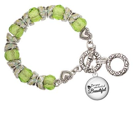 - Domed Be Your Own Beautiful Lime Green Butterfly Bead Charm Bracelet