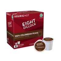 Eight O'Clock 100% Colombian Peaks K-Cup Coffee Pods, 18 Count