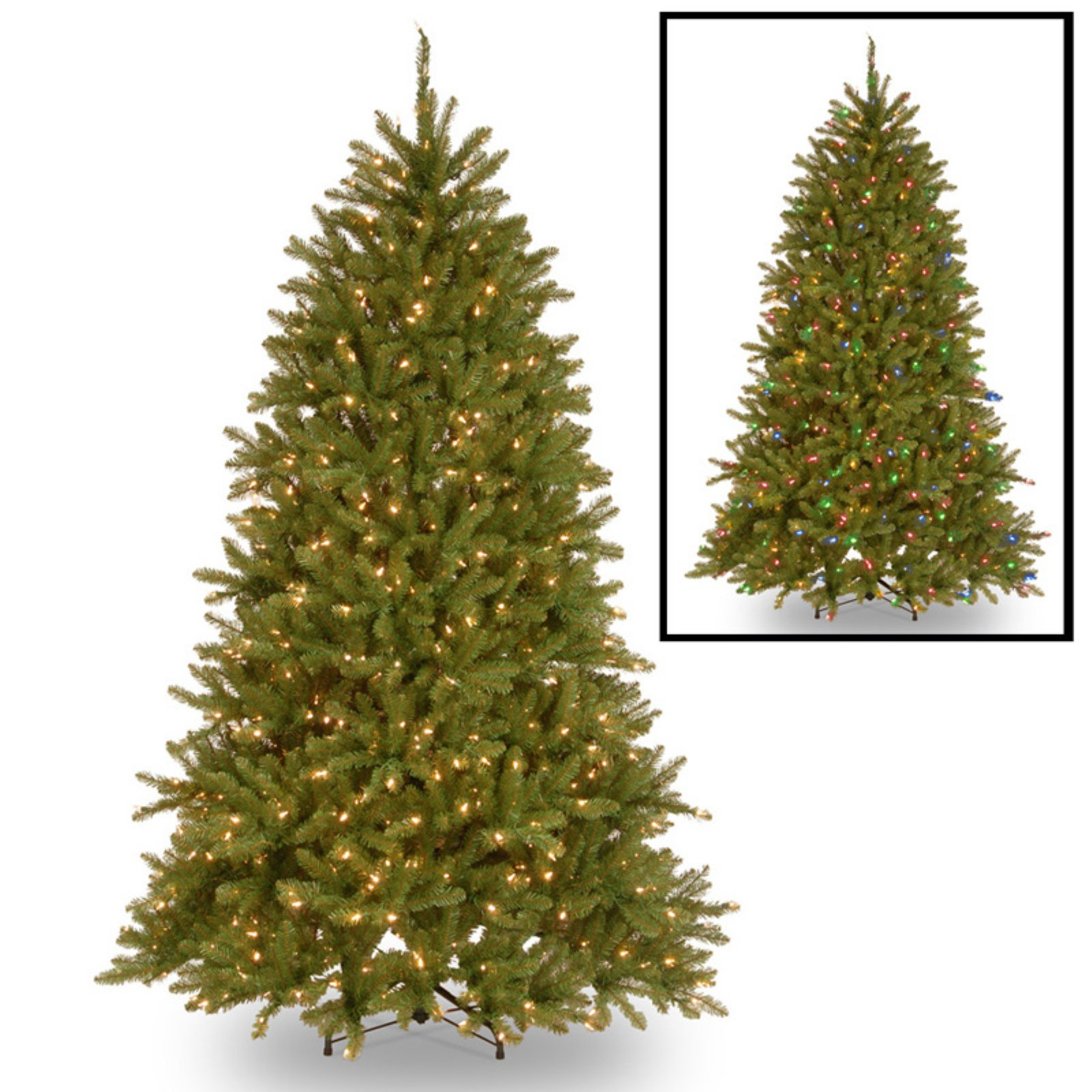 National Tree Pre-Lit 7-1/2'' Dunhill Fir Hinged Artificial Christmas Tree with 700 Low Voltage Dual LED Lights with 9 Function Footswitch