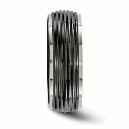 Edward Mirell Titanium Black Grooved 8mm Wedding Ring Band Size 12.00 Man Classic Fancy Fashion Jewelry Gift For Dad Mens For Him - image 1 of 10