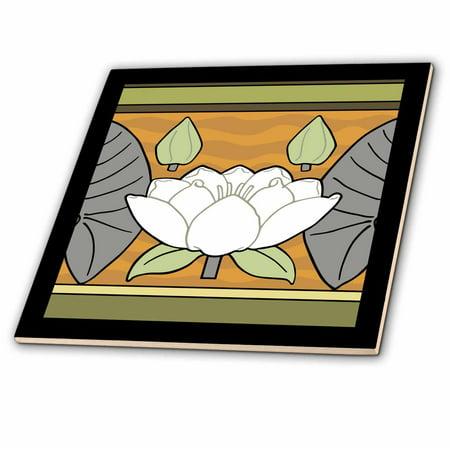 3dRose White Art Nouveau Water Lily Design - Ceramic Tile, 4-inch