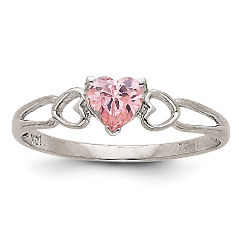 14k White Gold Pink Tourmaline Birthstone Ring by Saris and Things QG
