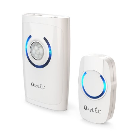 OxyLED Wireless Remote Control Doorbell, 4 in 1 Wireless DoorBell Kit, 1 Remote Button with Blue LED Indicator and 1 Reciever, 500ft Range, 36 Chimes Motion Sensor Light/Flashlight/Alarm