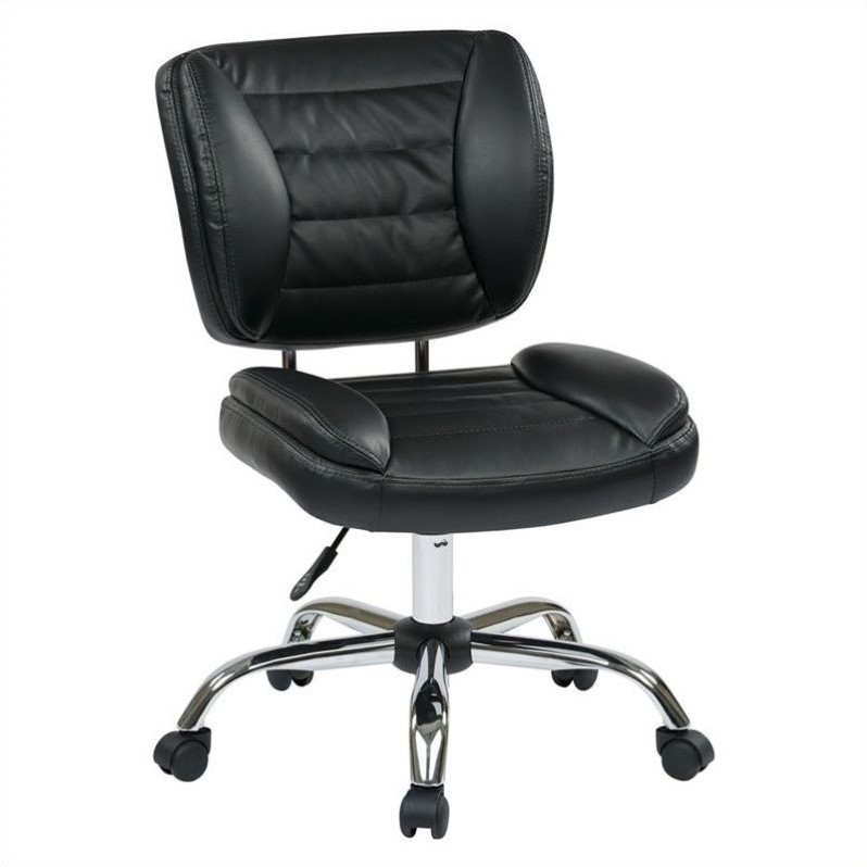 Office Star ST Series Armless Task Office Chair in Black