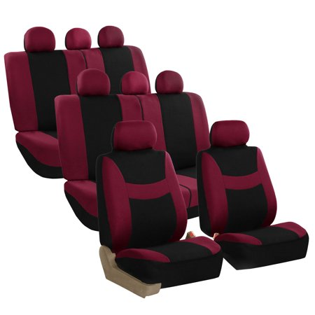 Burgundy 3 Seat - FH Group Light & Breezy Seat Covers for Auto, 3 Row 8 Seaters SUV VAN Auto Seat Covers Set, Burgundy and Black
