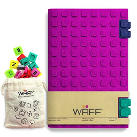 """WAFF, Soft Silicone Cube Tiles And Notebook / Journal Combo, Large, 8.25"""" x 5.5"""" (+ 100 Cubes) - Glitter Fuchsia - image 1 of 1"""