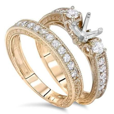 7/8ct Vintage Engagement Ring Mount Set 14K Yellow Gold - image 3 de 3