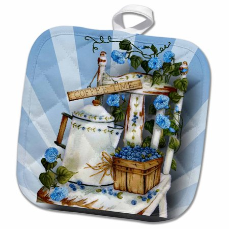 3dRose Garden chair and with pretty blue flowers and tea pot, and basket of blueberries - Pot Holder, 8 by 8-inch