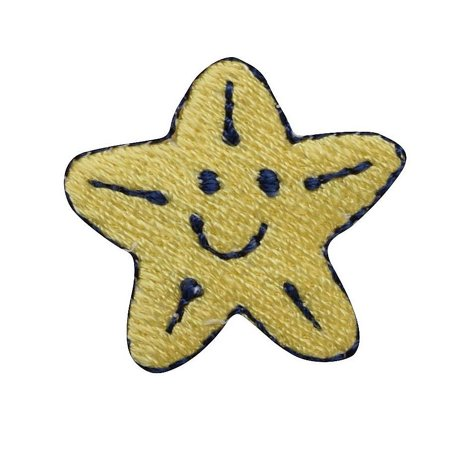 Happy Star - Smiley Face - Yellow - Iron on Applique/Embroidered