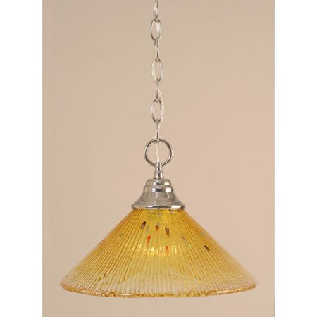 Chrome Chain Hung Pendant with Gold Champagne Crystal Glass