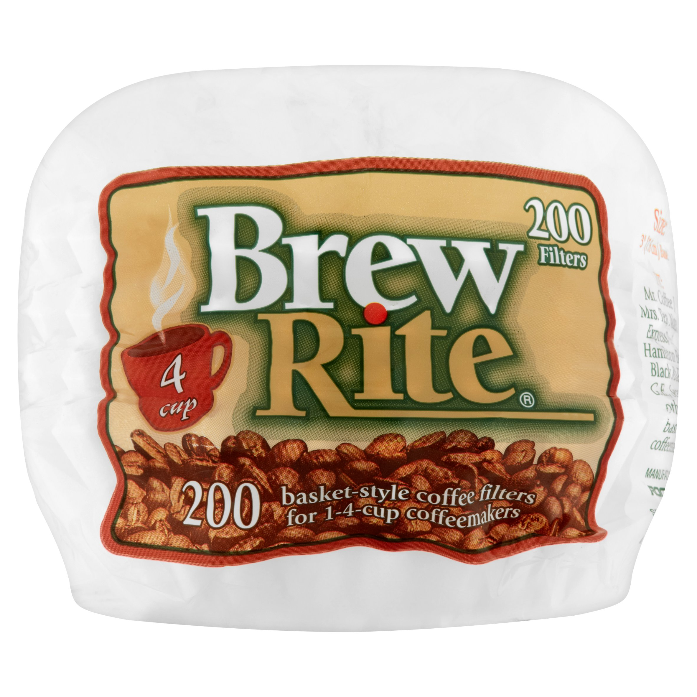 Brew Rite 4-Cup Coffee Filters, Basket Style by Rockline Industries
