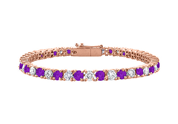 Cubic Zirconia and Amethyst Tennis Bracelet in 14K Rose Gold Vermeil. 4CT TGW. 7 Inch by Love Bright