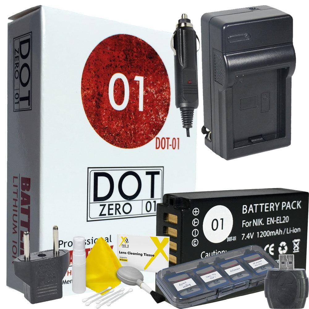DOT-01 Brand 1200 mAh Replacement Nikon EN-EL20 Battery and Charger for Nikon 1 J1, 1 J2, 1 J3, 1 S1, 1 AW1, COOLPIX A Digital Camera and Nikon ENEL20 Accessory Bundle