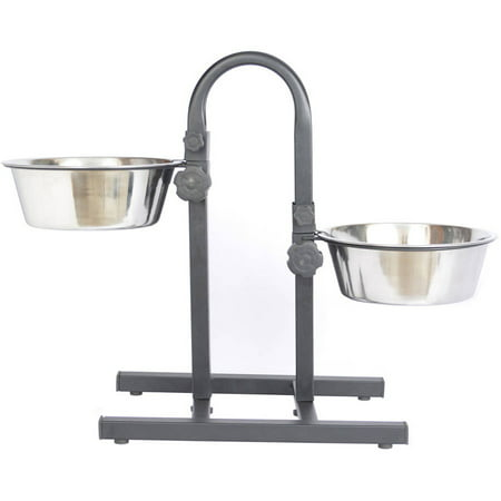 Iconic Pet Adjustable Stainless Steel Pet Double Diner For Dog (U Design), 2 Qt, 64 Oz, 8 Cup
