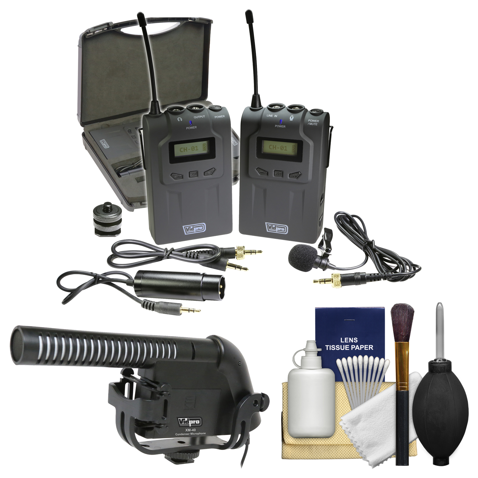 Vidpro XM-W4 Professional UHF Wireless Microphone System with Lavalier & Case with Microphone + Kit by VidPro