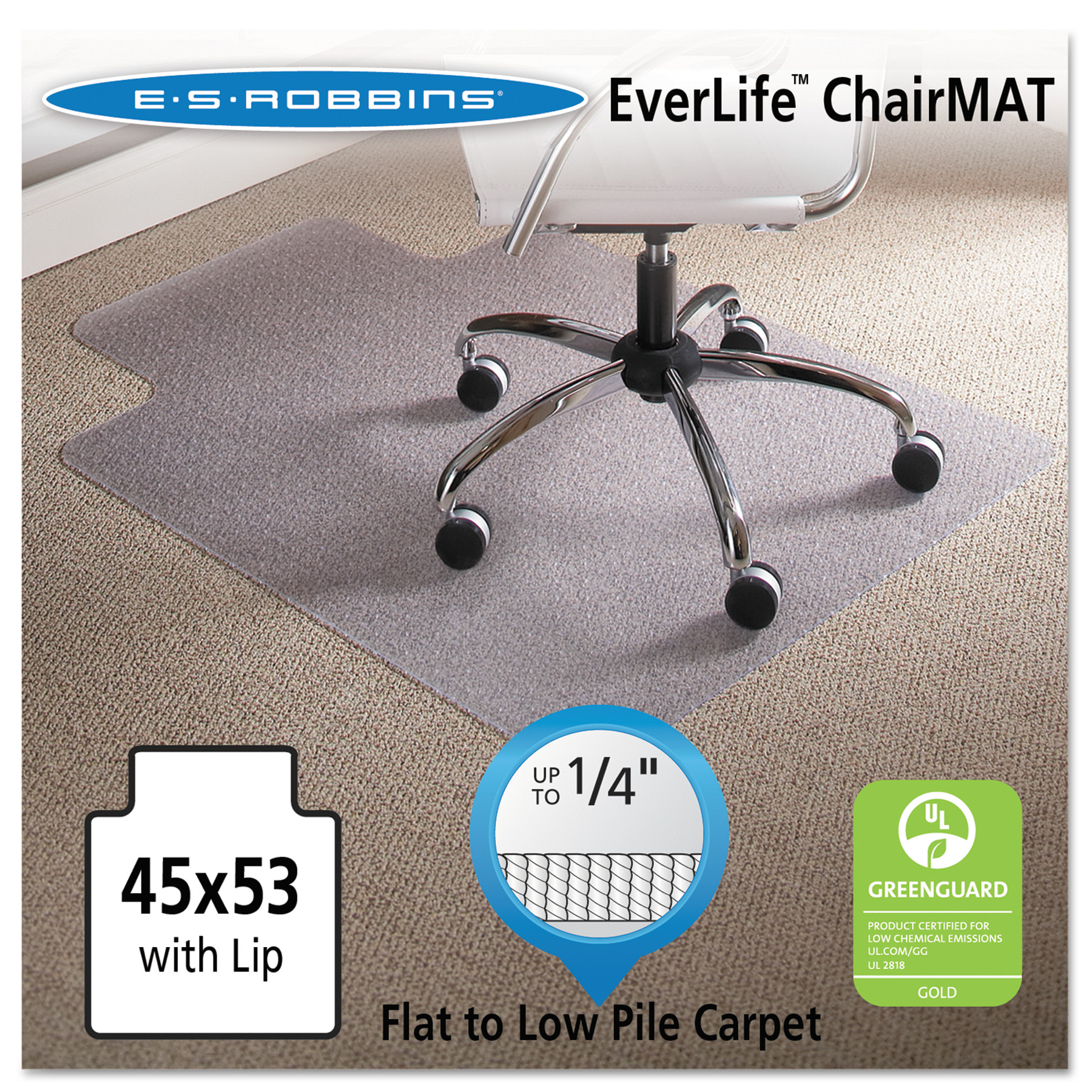 ES Robbins AnchorBar 45 x 53 Chair Mat for Low Pile Carpet, Rectangular
