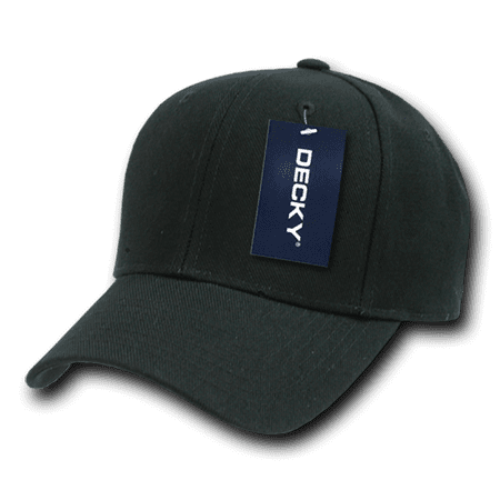 DECKY Classic Plain Fitted Pre Curved Bill Baseball Hats Hat Caps Cap For Men Women Black