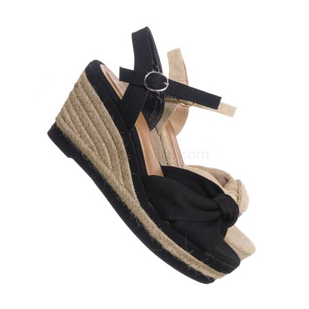 8da60845a20 Belle04 by Bamboo, Espadrille Linein Platform Wedge Sandal - Women Jute  Rope Braid Shoes