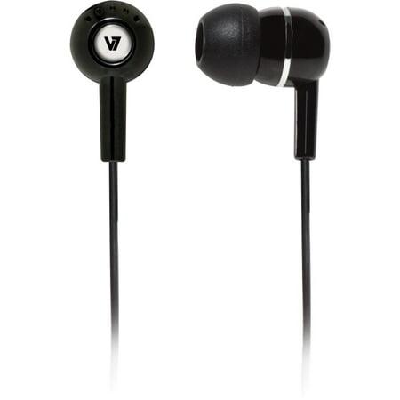 V7 Noise Isolating Stereo Earbuds, Black -