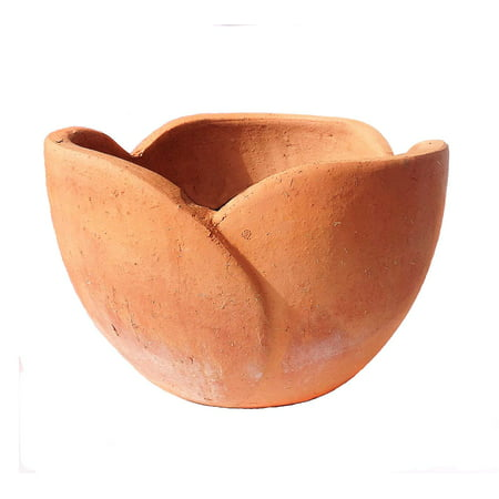 Large Terra Cotta Pot (Hand Pressed Ancient Stressed Terracotta Petal Shaped Flower Pot or Planter. Large size )
