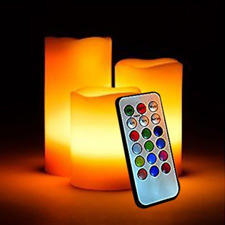 Smart Flameless LED Illuminate candle Set - 3 Nonflammable Wax Battery Operated Electric Candles - Multi Function Remote Control with Timer - Color Changing/Light Mode Options -