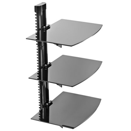 Mount Factory - Adjustable Wall Mount / Glass Floating AV DVD Component Shelf - 3 Tier - Black - Glass Shelves Electronic
