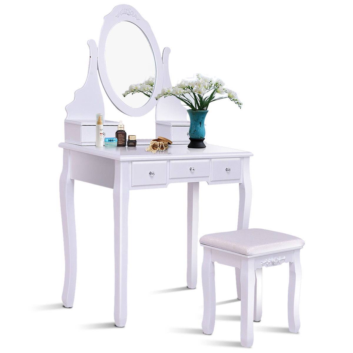 Gymax Bathroom Wooden Mirrored Makeup Vanity Set Stool Table Set White 5 Drawers