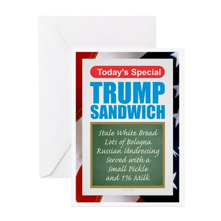 CafePress - Trump Sandwich Greeting Cards - Greeting Card, Blank Inside Glossy](Trump Card Make Up Halloween)
